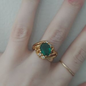 Jewelry - 14K gold plated emerald stone ring, size 8 and 9